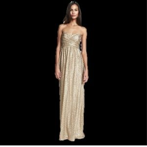 NWOT Amsale London Gold Strapless Sequin Gown 12